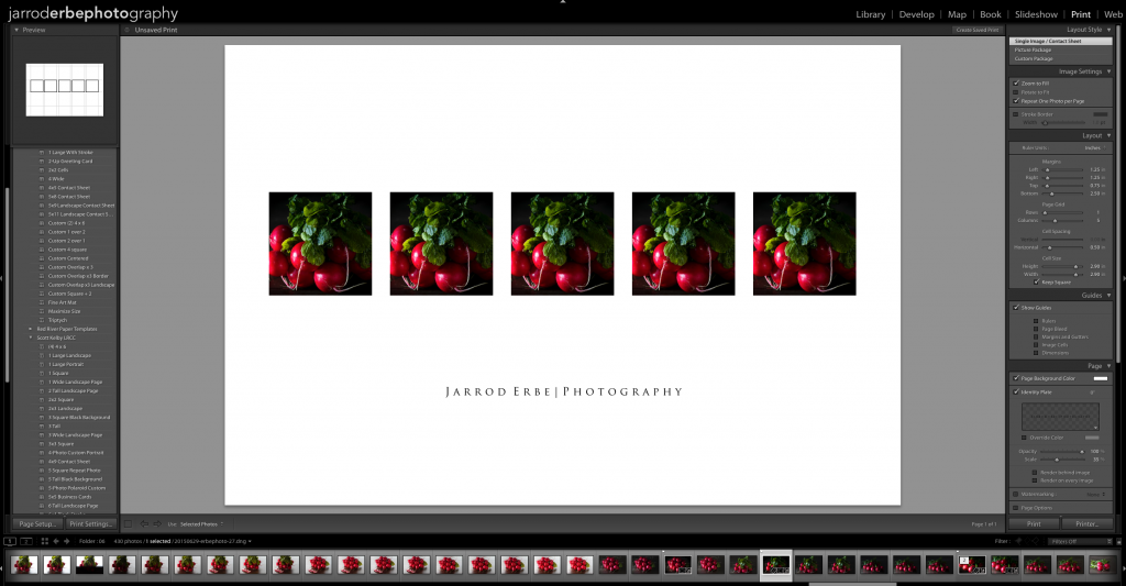 The Lightroom print module